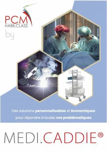 Couverture de notre nouveau catalogue PCM by Medicaddie spécial chariot en acier inoxydable